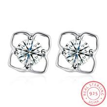 925 Sterling Silver Flower Shape Small Ear Stud Simple Earring