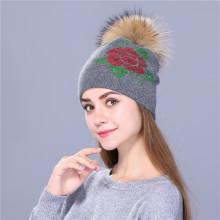 Sombrero de invierno femenino bordado de lentejuelas de mujer de punto