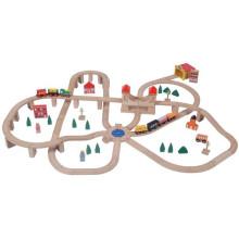 110pcs Wooden Railway Toy Train