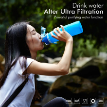1000ml botol air silikon filter berkemah