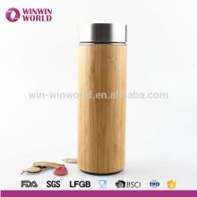 BPA Free Custom Inner Stainless Natural Bamboo Thermos Mug