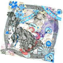 Mulheres Moda Flor Impresso Lenço De Seda Quadrado (L-1)