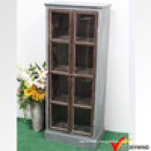 Living Room Vintage Rustic White Wood Glass Display Cabinet