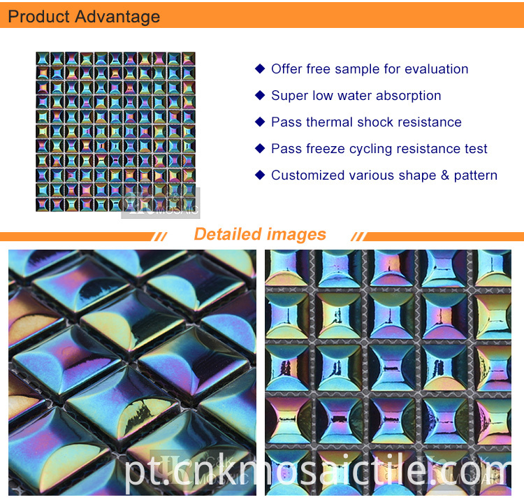 Bubble Iridescent Rainbow Color Mix Glass Tile