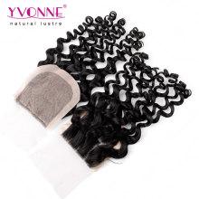 Brazilian Virgin Hair Curly Human Hair Silk Base Closure