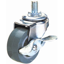 Threaded Stem PU Furniture Caster with Brake (Gray)