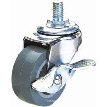 Резьбовые стельки PU Мебель Caster с тормозом (серый)