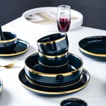 Luxury Blue Porcelain Dinnerware Set Ceramic Tableware Plates Dishes Bowl Set 1/2/4/6/8 Person Dining Set for Hotel Restaurant