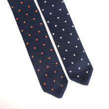 Dreieck Big End Mens Silk benutzerdefinierte Stickerei Punkte Skinny Knit Tie