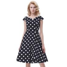Belle Poque Retro Vintage Polka Dots Cap Sleeve V-Neck Cotton Swing Dress BP000292-1