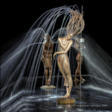 Nice looking design water feature bronze girl fountain for home park decoration