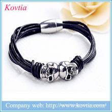 New double skulls magnetic clasp titanium steel braided bracelet