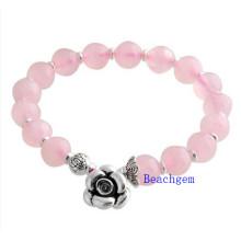 Natural Rose Quartz Beads Bracelet with Silver Charm (BRG0015)