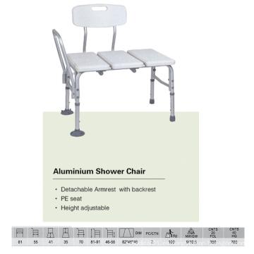 Banco de ducha de aluminio con mango