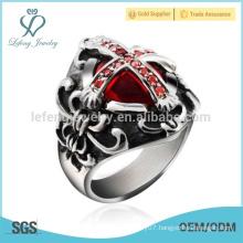 Silver sideways cross ring,silver punk cross ring for men