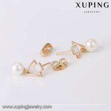 94249 Xuping bijoux mode blanc perle stud boucle d'oreille pour femme avec 18k plaqué or