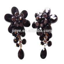 Luxus Black Bling Floral Statement Clip auf Kristall Ohrringe