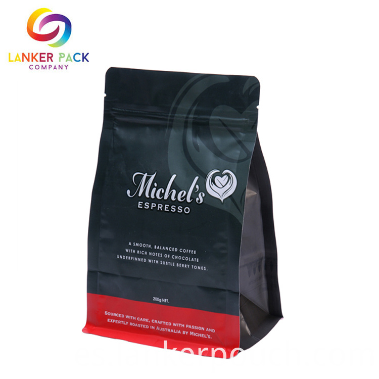 Custom Waterproof Coffee Flat Bottom Pouch Bag