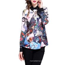 Элегантный дизайн с длинным рукавом из полиэстера с красочными принтами