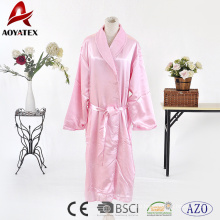 Best price of sexy women pink long sleeve solid satin robe