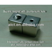 Block Rare Earth Magnet With Countersunk Hole
