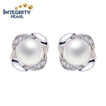 8-9mm AAA Freshwater Button Pearl Earring Cheap Jewelry White Pearl Earring