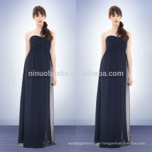 Unter 100 2014 Navy Blue Chiffon Reich Brautjungfer Kleid Schatz in voller Länge lange prom Kleid mit Criss-Cross Pleats NB0727