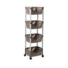 Стеллаж для полок с 4 корзинами для хранения и колесами