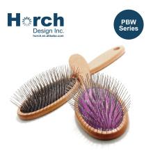 Quality Beech Wooden Handle Pet Pin Brush Customizable Trademark