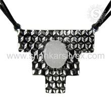 Nueva joyería de la plata de la venta al por mayor de la joyería de la plata esterlina de la piedra preciosa del druzy del diseño