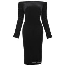 Kate Kasin Women's Long Sleeve Off Shoulder Hips-Wrapped Black Velvet Bodycon Pencil Dress KK000500-1