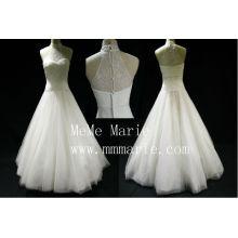 Niedrige Schulter hohe Kragen Applique Spitze Brautkleid Brautkleid mit Reißverschluss BYB-14595