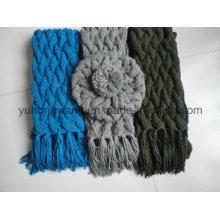 Venta caliente señora Invierno caliente Knitted Acrílico Set