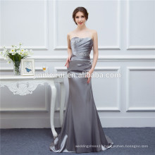 Gray Bridesmaid Dresses Satin Mermaid Beaded Cheap Brides Maid Dress Real Photo