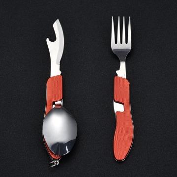 Juego de utensilios para acampar plegable al aire libre, acero inoxidable, multifunción, senderismo, bolsillo, cubiertos, utensilios de cocina con tenedor, cuchara, cuchillo