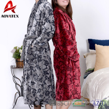 Wholesale 280gsm adult embossed flannel fleece bathrobe sleepwear