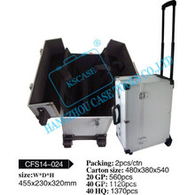 Professional Rolling Trolley Aluminum makeup case with telescopic handle