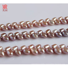 6-7mm AAA Rice Freshwater Pearl Strand, Wheat Design, Lavender