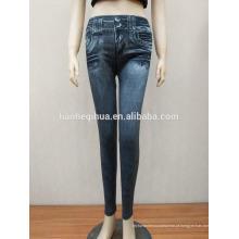 Nova moda estilo sliming Jean leggings com bolsos reais