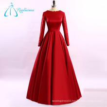 Lace Appliques Satin Red Plus Size Long Sleeve Evening Dress
