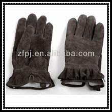 Dame Verdickung Futter Winter dunklen Kaffee Wildleder Leder Handschuh