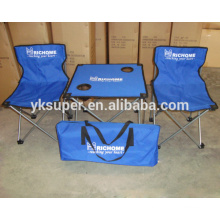 Portable folding table and chair set for outdoor camping and picnic