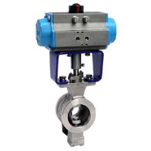 Válvula de esfera pneumática V-Port da bolacha de ZSHV / válvula de controle V-Port