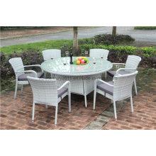 Открытый сад ротанга плетеная большой обеденный стол и стул