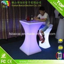 Mobiliário de bar LED mesa de cocktail com cadeira
