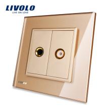 Livolo Gold Панель из хрусталя VL-C791MVD-13 Настенный микрофон и розетка Электрическая розетка