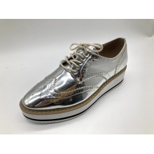 Mulheres com Plataforma Lace-Up Wingtips Toe Rodada Brogue Sapatos