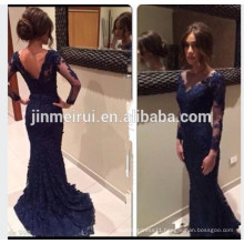 2016New Navy Evening Dresses Custom Illusion Bateau Neck Long Sleeve Low Back Mermaid Lace Sweep Train Prom Gown