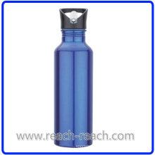 Botella de agua de aluminio 750ml deportes con paja (R-4052)