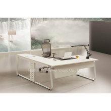 Moda L Shape White Gerente Diretor Office Table (HF-YZ0061)